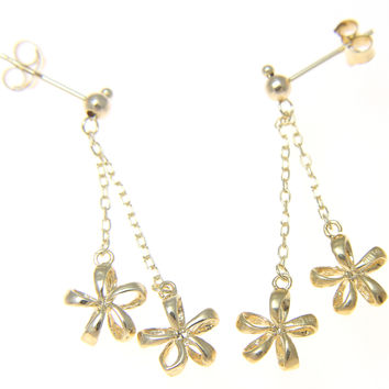 SOLID 14K YELLOW GOLD HAWAIIAN OPEN PLUMERIA FLOWER DANGLE EARRINGS POST STUD