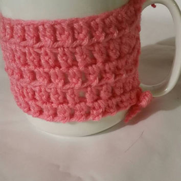 Cup Cozy Crocheted - Mug- Crocheted Cozy Pink