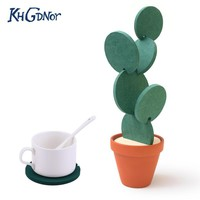 Creative Coaster Mat Cactus Potted Plants Shape Cup Mat Heat Insulation Pad Table Decoration Kitchen Accessories