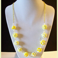 """Necklace Yellow Flowers Applique Swarovski Crystals Handcrafted Polymer Clay 20"""" Spring Summer Pastel Jewelry Floral Yellow White Flowers"""