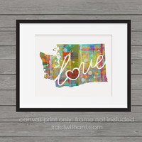 Washington Love - WA Canvas Paper Print:  A Modern and Colorful Abstract Watercolor Style Original Art Piece / Home State Love Map