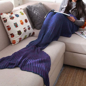 Mermaid Blanket Yarn Knitted Mermaid Tail Blanket Handmade Crochet Very Soft For Home Sofa Sleeping Bag Kids Adults Sleeping Bag +Christmas Gift -Necklace
