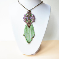 Bohemian fringe necklace, macrame necklace, macrame jewelry, beaded pendant, boho chic, unique gift for her, purple green brown necklace