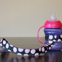 Bottle Tether, Toy Tether, Sippy Strap with Suction Cup-Black with Pink Polka Dots