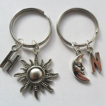 Best Friend sun and moon keychains 2 Initial best friend keychains, BFF, sisters, pick your own letters