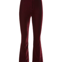 Velvet Crop Flare Trousers