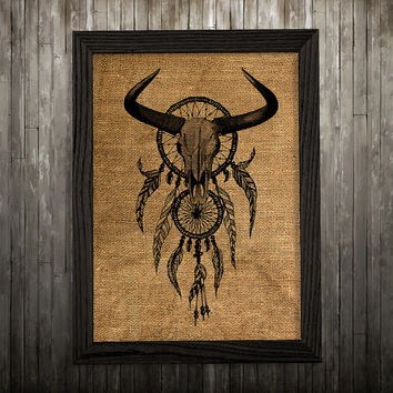 Dreamcatcher art Burlap print Antique print Tribal poster BLP768