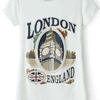 White Short Sleeve London Print Graphic T-Shirt