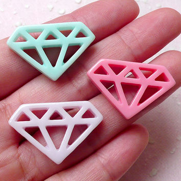 Kawaii Diamond Outline Cabochon Mix (3pcs / Pastel Color / 28mm x 18mm / Flat Back) Cute Embellishment Cellphone Case Deco Decoden CAB368