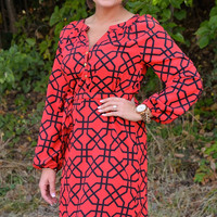 Samantha Shirt Dress ~ Red/Black