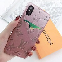 LV Louis Vuitton New fashion monogram print leather protective cover phone case