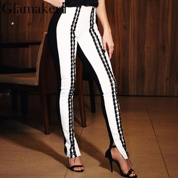 Glamaker Lace up leather casual pants Women high waist skinny pants trousers Summer sexy bodycon party black pants capris bottom