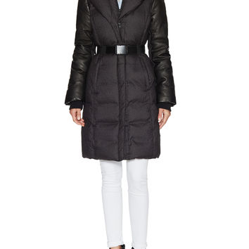 Soia & Kyo Women's Allan Hooded Puffer Coat with Leather Trim - Black