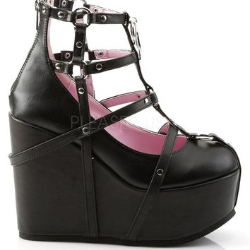 vegan leather cage bootie rave shoes with pentagram detail  number 1
