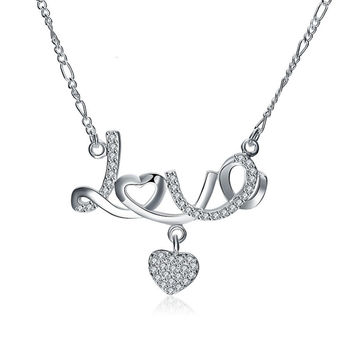 Jewelry New Arrival Gift Shiny Couple Stylish Silver Diamonds Necklace [9036681220]