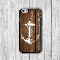 iPhone 6 Case - Old Wood Brown White Anchor Paint iPhone 6 Plus, iPhone 5S Case, iPhone 5 Case, iPhone 5C Case, iPhone 4S Case, iPhone 4