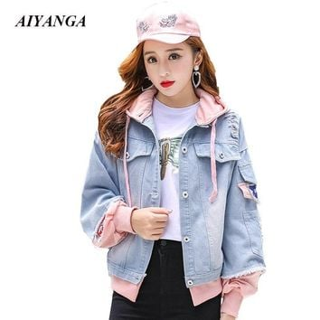 Patchwork Hooded Jackets Women 2018 Autumn Denim Outerwear Hole Causal Jackets Single Breasted Preppy Style Women's clothing