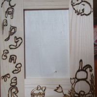 Happy Easter Rustic Wood Burned Picture Frame with Bunnies Tulips Easter Basket Can Be Peronalized