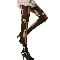 Angelina Ripped / Patterned Opaque Tights, Black, 5293F