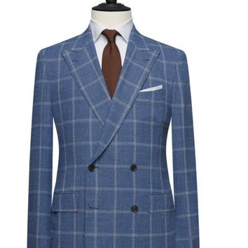 Blue Window-Pane Double Breasted Wide Lapel Suit