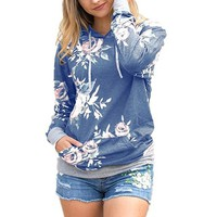 Fabulous Blue Floral Print Long Sleeve Hooded Sweat Shirt Top