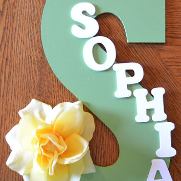 yellow flower theme personalized 135 hand painted wooden lett