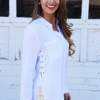 Side Action Button Up Blouse