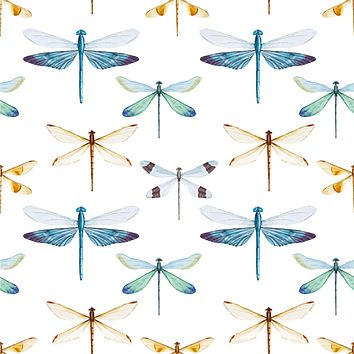 Dragonfly Insects Multicolored Wallpaper Reusable Removable Accent Wall Interior Art (wal030)