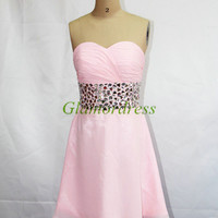 pink fashion chiffon prom dress short sweetheart homecoming gowns cheap dress for party with rhinestones