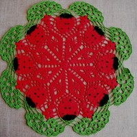 "Ladybug Lace Crochet Doily. Round 14.5"" Green Red Lady bird. New. OOAK"