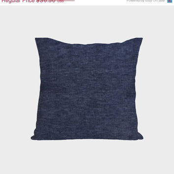 Valentine SALE Throw Pillows -Navy Blue Cushion Covers -26x26 -Decorative Linen -Natural Linen –Denim Cushion -Euro -Wedding -Anniversary