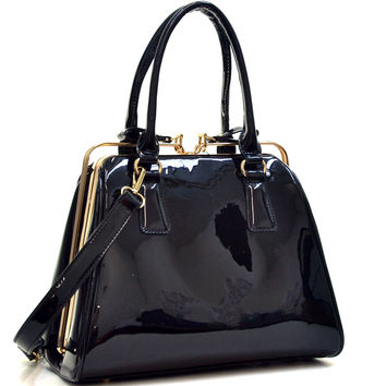 Faux Patent Leather A Frame Satchel