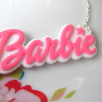 Cute Barbie Logo Statement Word Necklace, Pendant, Pink & White, Kitsch, Retro