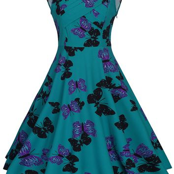 Casual V-Neck Captivating Butterfly Printed Skater Dress
