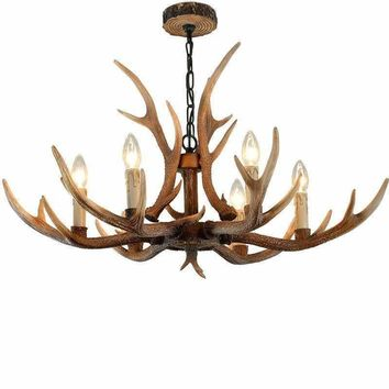 Nordic Brown Antler Bedroom Chandeliers Lighting Resin Candle Lustre for Living Room Modern ceiling Pendant lamp for dining room