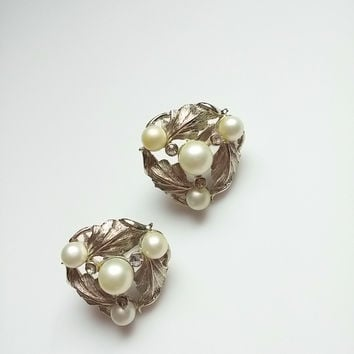 Vintage Silver & Pearl Earrings by Star 50s 60s Leaf Pattern