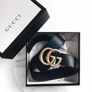 GUCCI Stylish Women Men Double G Metal Smooth Buckle Belt Leather Belt I