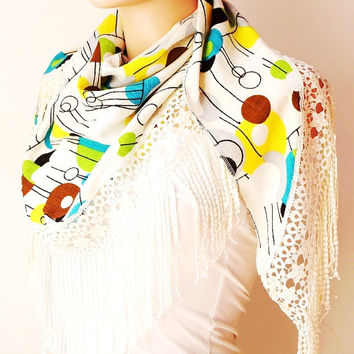 Colorful Scarf. Lace Scarf. Woman Scarf.  Fashion Scarf. Bunch Lace