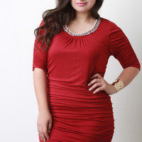 Jeweled Neckline Ruched Keyhole Dress