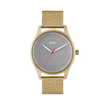 Miró Watches — Grey Face Mesh Strap — Gold