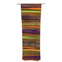 "Miranda Mol ""Tropical Sunset"" Gold Orange Abstract Stripes Watercolor Painting Decorative Sheer Curtain"
