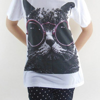 CAT RED Glasses T-Shirt -- Cat T-Shirt Cat Shirt Animal T-Shirt White Shirt Teen Shirt Girl Shirt Women Shirt Men Shirt Unisex Shirt Size M