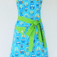 Retro Owl Apron,  Blue and Green, Cute Owls, Womens Full Apron, KitschNStyle