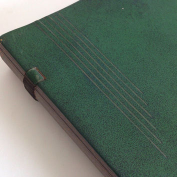 Vintage Photo Book-Scrapbook-Leather Bound-Large Pages-Green-Photo Album-Memory Book-Coffee Table Book