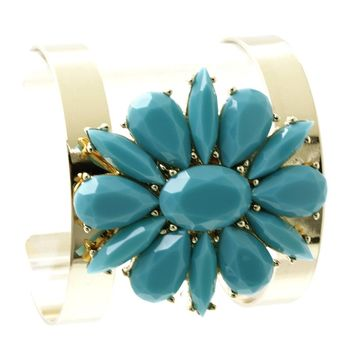 Turquoise Faceted Lucite Stone Floral Cuff Bracelet