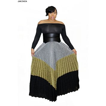 women new winter long floor length maxi sequined multi color high waist maxi pleated skirts vintage fashion party skirt JH069