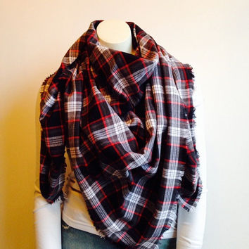 Lightweight Plaid Blanket Scarf, Gray Plaid Soft Cotton Flannel Wrap, Fringed Oversized Scarf, Grey, Black and Red Plaid Wrap, Tartan Scarf