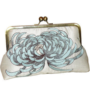 Chrysanthemum Clutch/Purse/Bag..Something Tiffany Bridal Blue and Brown on Ivory Silk..Personalized Embroidery..Free Monogram
