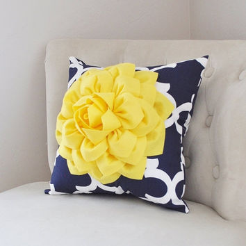 MOTHERS DAY SALE Pillows Decorative - Bright Yellow Dahlia on Navy and White Moroccan Pillow -  Throw Pillow - Decorative Pillows