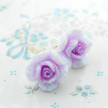 Shabby Chic Cute Glitter Shimmer Rose Rosettes Stud Post earrings Pale Lavender Purple